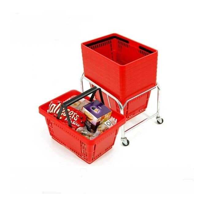 10 Red Plastic Shopping Baskets with Mobile Basket Stacker - 21L