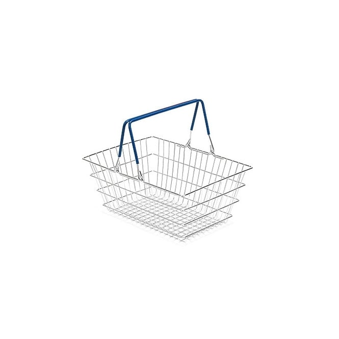 10 Wire Shopping Baskets with Blue Handles - 23 Litre
