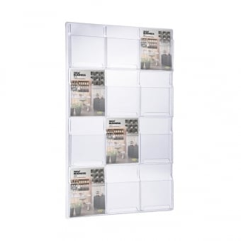 12 Pocket A4 Brochure Holder - Wall Mounted