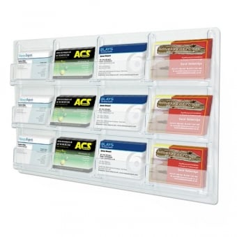Wall mounted business card holders displaysense 12 pocket landscape business card holder wall mounted colourmoves