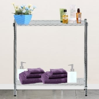 2 Tier Chrome Wire Display Table - 600mm