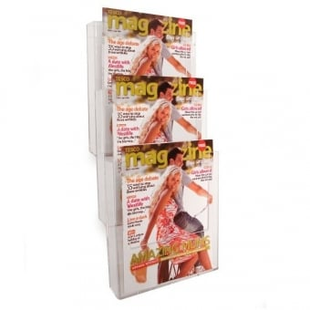 3 Tier A4 Portrait Brochure Holder - Wall Mounted