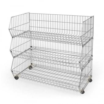 3 Tier Extra Wide Wire Stacking Basket Unit - 980mm x 1000mm