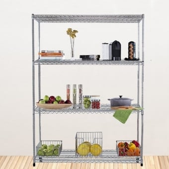 4 Tier Chrome Wire Heavy Duty Shelving - 1200mm