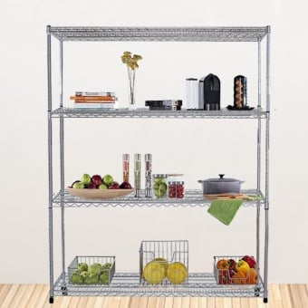 4 Tier Chrome Wire Heavy Duty Shelving - 1800mm x 900mm