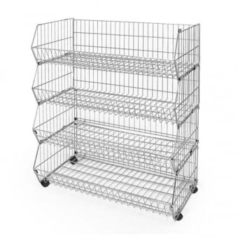4 Tier Extra Wide Wire Stacking Basket Unit - 1100mm x 1000mm