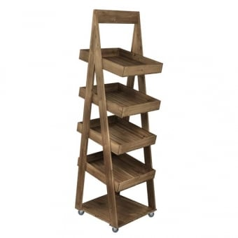 4 Tier Mobile Rustic Display Stand - Distressed Wood Finish