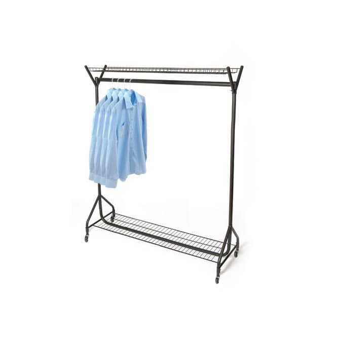4ft Black Heavy Duty Clothes Rail with Top & Bottom Shelves