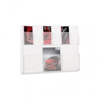 6 Pocket DL Leaflet and 3 Pocket A4 Brochure Holder - Wall Mounted