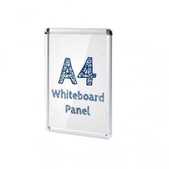 A4 Silver Poster Snap Frame with PVC Whiteboard Insert - Rounded