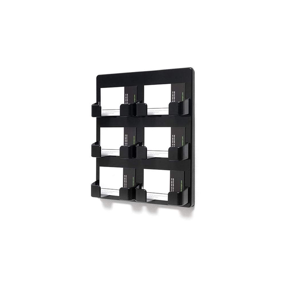 Black 6 Pocket Business Card Holder - Wall Mounted | Displaysense