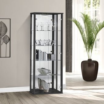Black Glass Display Cabinet With Lighting   670mm