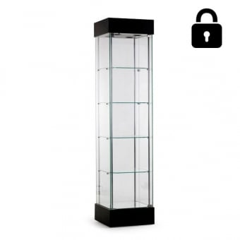 Black Wooden Single Glass Door Display Cabinet