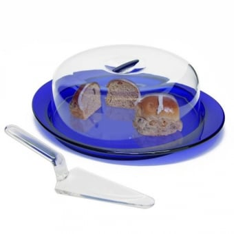 Blue Cake Stand with Acrylic Dome