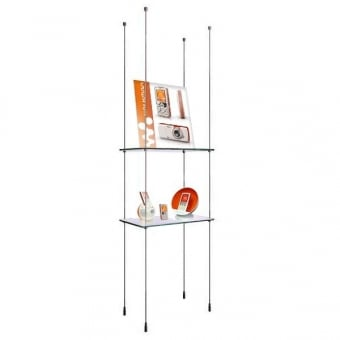 Cable Shelving Display with 2 Glass Shelves - 440mm