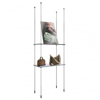 Cable Shelving Display with 2 Glass Shelves - 618mm