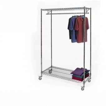 Chrome Wire Shelving with 1 Clothes Rail, 2 Shelves & Wheels - 1500mm