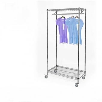 Chrome Wire Shelving with 1 Clothes Rail, 2 Shelves & Wheels - 900mm