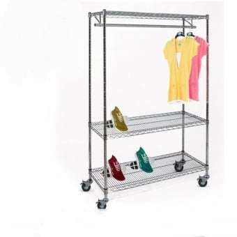 Chrome Wire Shelving with 1 Clothes Rail, 3 Shelves & Wheels - 1200mm