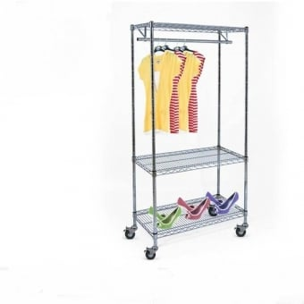 Chrome Wire Shelving with 1 Clothes Rail, 3 Shelves & Wheels - 900mm