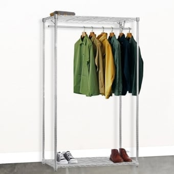 Chrome Wire Shelving with Clothes Rail & 2 Shelves - 1200mm