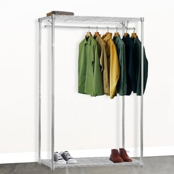 Chrome Wire Shelving with Clothes Rail & 2 Shelves - 1500mm