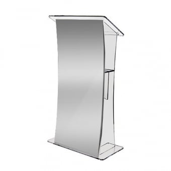 Clear Acrylic Lectern with Aluminium Front Panel