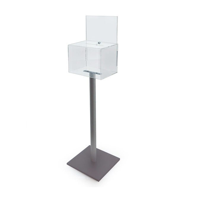 Clear Acrylic Lockable Ballot Box with Header - Floor Standing