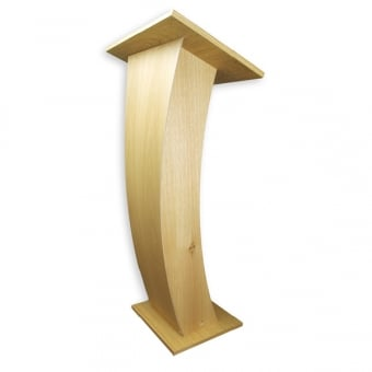 Curved Oak Wood Lectern with Tapered Front Panel