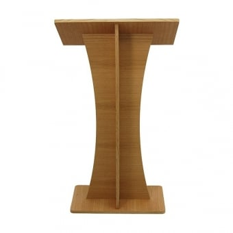 Curved Wooden Lectern - Oak Finish - Assembled
