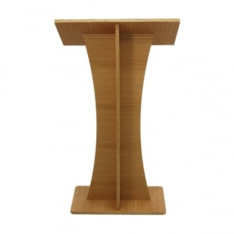 Curved Wooden Lectern - Oak Finish
