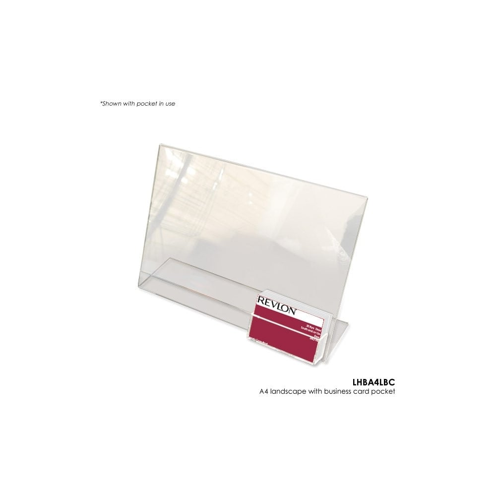 Acrylic A4 Literature Holder with Business Card Pocket - Landscape ...