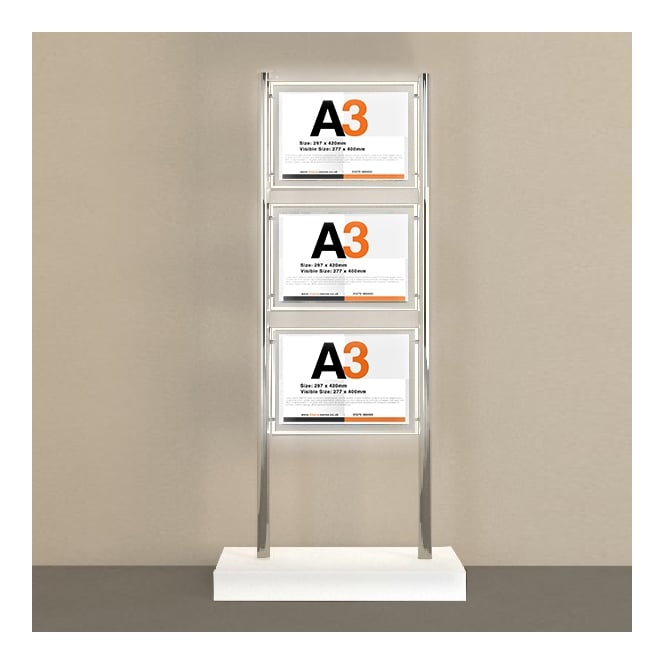 Floor Standing 3 Pocket A3 Landscape LED Totem Display
