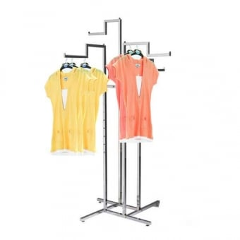 Four Way Stepped Arm Chrome Clothes Rail