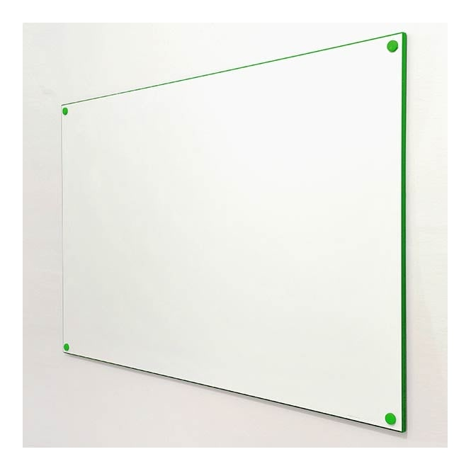 Frameless Double Sided Whiteboard with Green Edging - 900 x 600mm