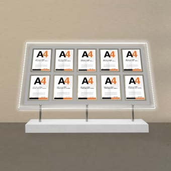 Free Standing 10 Pocket A4 Poster LED Display