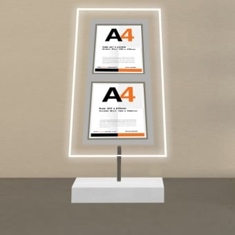 Free Standing 2 Pocket A4 Portrait LED Poster Display