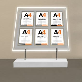 Free Standing 6 Pocket A4 Portrait LED Poster Display
