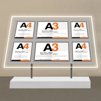 Free Standing Multi Pocket LED Poster Display
