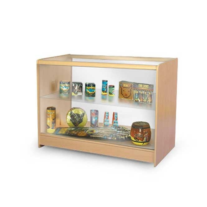 Glass Top Wooden Shop Counter with 1 Internal Glass Shelf