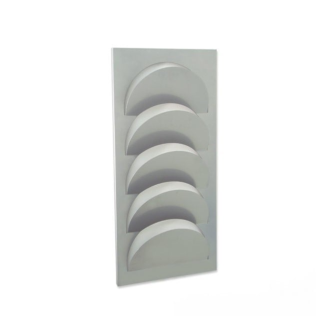 Grey Metal 5 Pocket A4 Brochure Holder - Wall Mounted