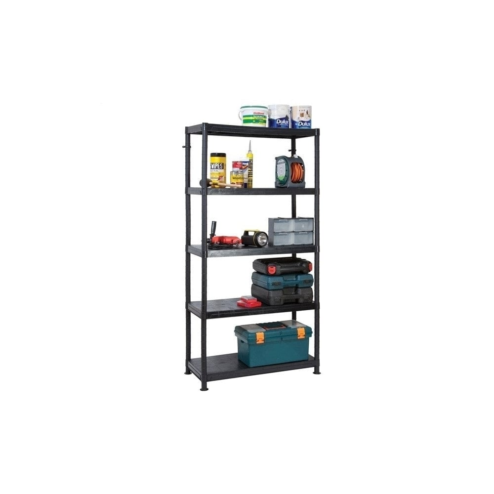 heavy duty plastic shelving 5 tier displaysense. Black Bedroom Furniture Sets. Home Design Ideas