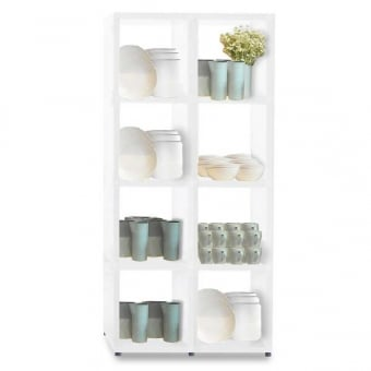 Heavy Duty White Cube Shelving Unit - 4 x 2