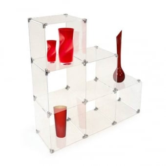 Large Stepped Acrylic Cube Shelving