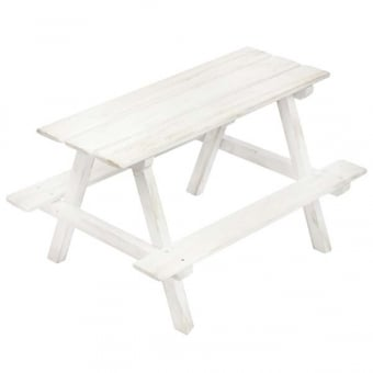 Mini Picnic Bench Display - White Distressed Finish