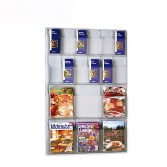 Multi Pocket DL Leaflet and A4 Brochure Holder - Wall Mounted