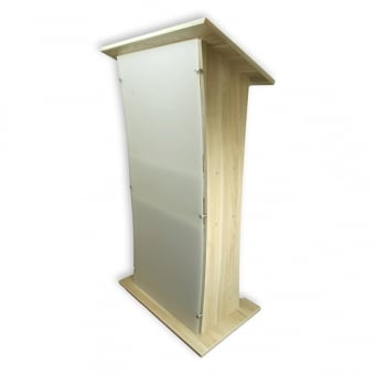 Oak Wood Lectern with Frosted Acrylic Front Panel