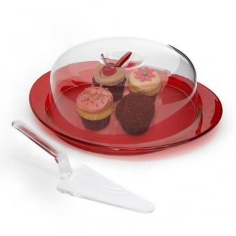 Red Cake Stand with Acrylic Dome