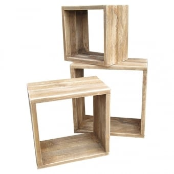 Rustic Wooden Display Cubes - Set of 3