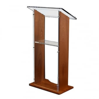 Sapele Wood Lectern with Clear Acrylic Panels
